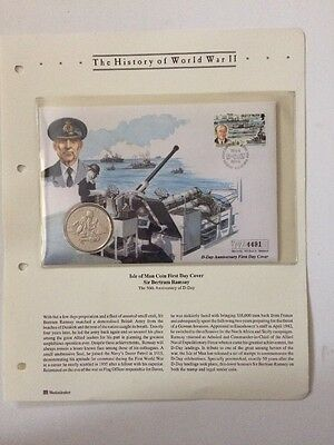 History Of World War 11 Isle Of Man Coin First Day Cover Sir Bertram Ramsay