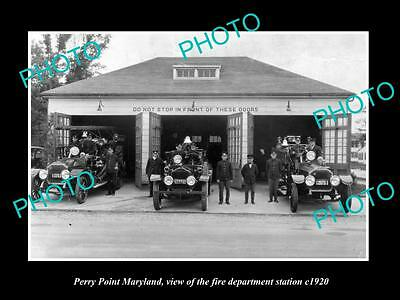 OLD LARGE HISTORIC PHOTO OF PORT PERRY MARYLAND, FIRE DEPARTMENT STATION c1920
