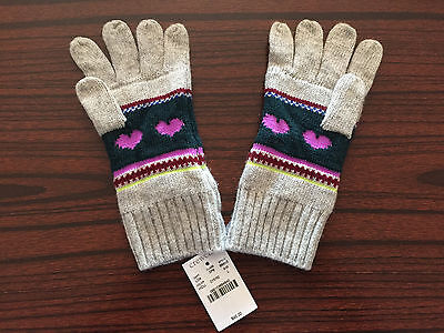 NWT J Crew Crewcuts Girls Heart Floral Winter Gloves Size L Retail $42
