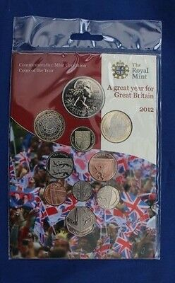 2012 Royal Mint 10 coin Uncirculated set in Folder - Factory Sealed (X5/3)