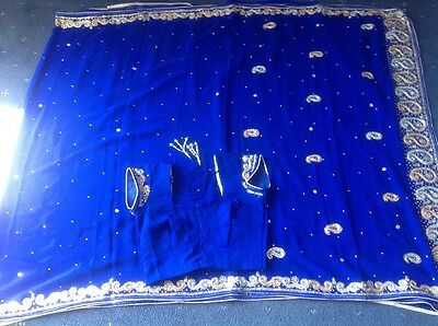 Lovely Blue Saree With Blouse, Brand New