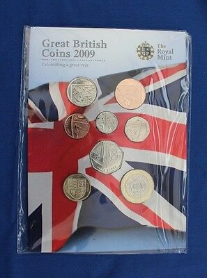 2009 Royal Mint 8 coin Uncirculated set in Folder - Factory Sealed (X5/4)