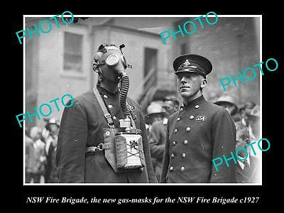 OLD LARGE HISTORIC PHOTO OF THE NSW FIRE BRIGADE NEW GAS MASKS c1927