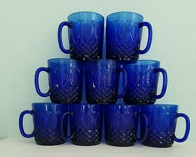 FIVE Royal Sapphire Avon Cobalt Blue Molded Raised Mugs Cups Made in France EUC
