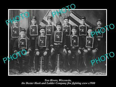OLD HISTORIC PHOTO OF TWO RIVERS WISCONSIN, HOOK & LADDER FIRE FIGHTERS c1900