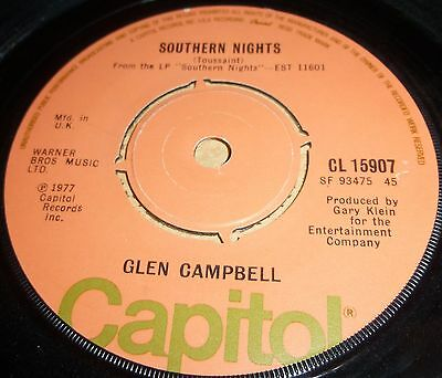 """Glen Campbell Southern Nights / William Tell Overture   Vinyl 7""""  Single"""