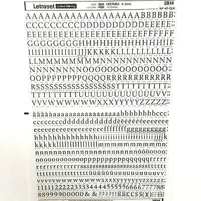 NEW SHEET LETRASET RUB-ON TRANSFER LETTERS 36pt Lectura 8.2mm