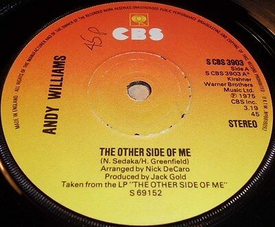 """Andy Williams The Other Side Of Me / Goin` Through The Motions  Vinyl 7"""" Single"""