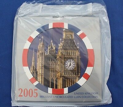 2005 Royal Mint 10 coin Uncirculated set in folder - Factory Sealed (X5/14)