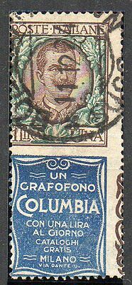 Italy 1924-5 1L With Columbia Advertising Label Sg171S Used Catalogue £950