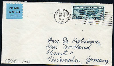 Usa 1940 Air Cover To Germany With Censor Tape & Cachet
