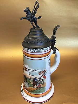 Antique German Porcelain Regiment Stein With Lithophane Image, Excellent