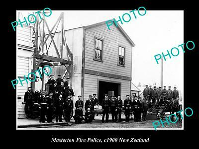 Old Large Historic Photo Of Masterton Police Fire Brigade, 1900 New Zealand