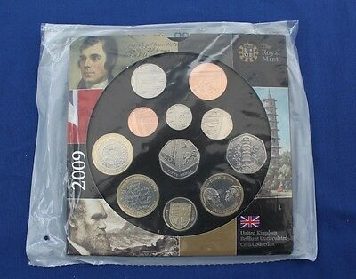 2009 Royal Mint 11 coin Uncirculated set in folder - Factory Sealed (X5/18)