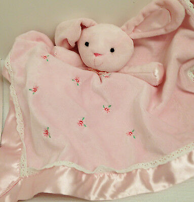 Pink Bunny Lovey Security Blanket w Rattle Baby Blue Bear CARTERS-Rosebuds Lace