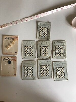 Antique Mother Of Pearl Buttons On Card Lot