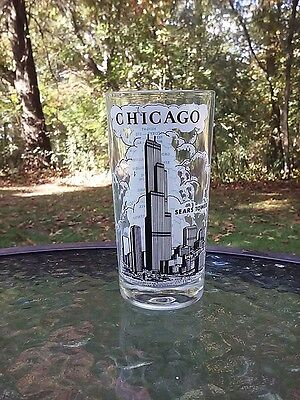 Chicago Sears Tower Drink Bar Glass Worlds Tallest Building Statistics Vintage