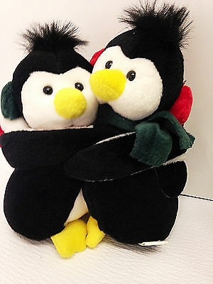 "Hugging Penguins -2 Penguin Couple/Pair/Love - Attached Ear Muffs 6.5"" Plush"