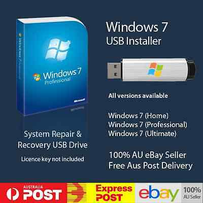 Windows 7 Professional 64 bit Installer Installation Repair Recovery USB Win7