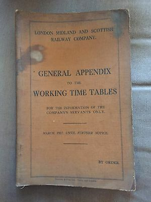 1937 London Midland & Scottish Railway General Appendix To Working Time Tables