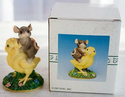 Charming Tails Chickie Back Ride #88/700 Easter Chick Mouse Fitz/Floyd w/Box