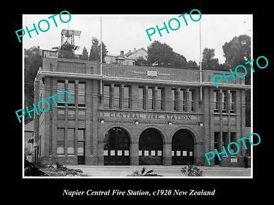Old Large Historic Photo Of Napier Fire Brigade Station, 1920 New Zealand