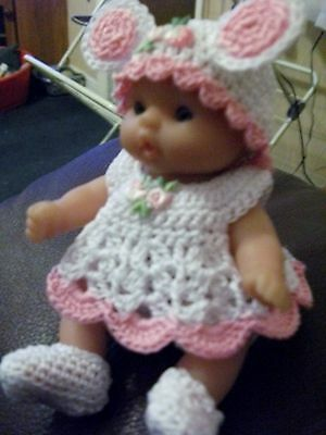 HAND CROCHETED/ KNITTED DOLL CLOTHES for 5 INCH BERENGUER DOLL OOAK/NEW