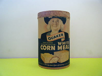 Vintage 1950's Quaker White Corn Meal Canister With Top