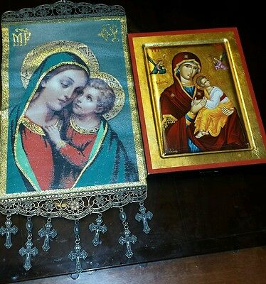 Hand painted icon of Holy Virgin Mary with Baby/Holy Wall hanging Mary with Baby