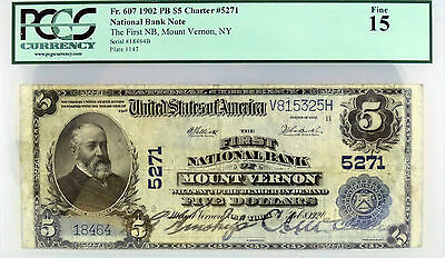 Series of 1902 $5 NB of Mount Vernon NY Fr#607 F15 PCGS