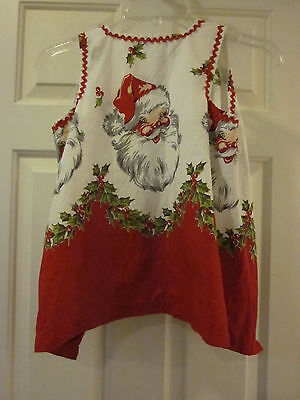 Vintage Christmas Santa Claus Face Cotton Fabric Child's Pinafore Apron Frock