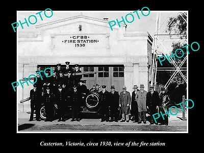 OLD LARGE HISTORIC PHOTO OF CASTERTON VIC, THE FIRE STATION AND BRIGADE c1930