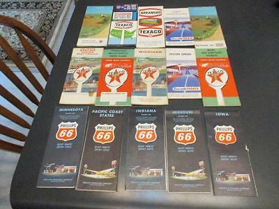 15 Vintage Texaco and Philips 66 Gas Station Lithograph Road Maps