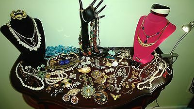 Vintage Costume Jewelry Lot 60+ items Signed, unsigned.. Stunning!