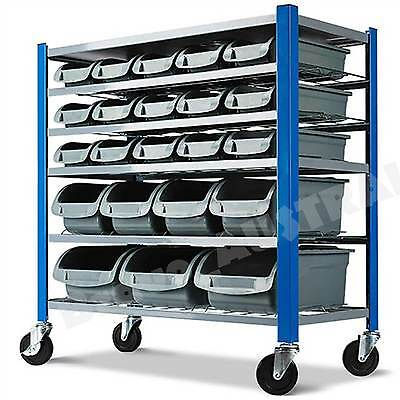 Mobile Parts Storage Bin Trolley Cart Garage Workshop Storage Stock Rack Shelves