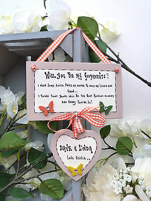 AD34 Personalised Will you be my Godmother, Godfather, Godparents gift plaque