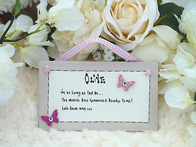 AD13 Personalised Godmother, Godfather, Godparents Christening Day gift plaque