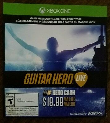 Guitar Hero Live GHTV Cash $20 Xbox One