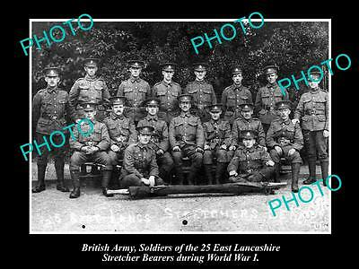 OLD HISTORICAL PHOTO OF BRITISH ARMY, EAST LANCASHIRE STRETCHER BEARERS c1915