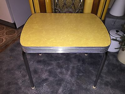 Retro Vintage Chrome 1950's Salesman Sample / Child size Yellow Formica Table