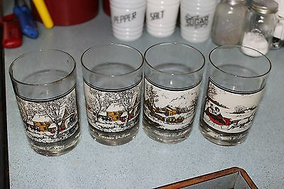 Four (4) Vintage Arby's Currier & Ives Glasses