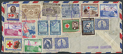 Guatemala multi franked cover FRONT - 17 stamp