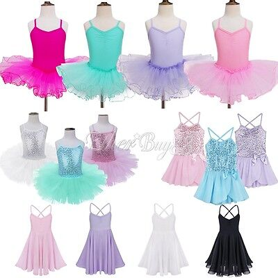 US Girl Kid Tutu Ballet Leotard Dance Dress Ballerina Dancewear Unitards Costume