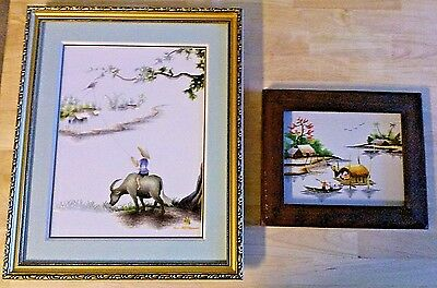 2 Asian Silk Embroidery Pictures - Framed behind Glass