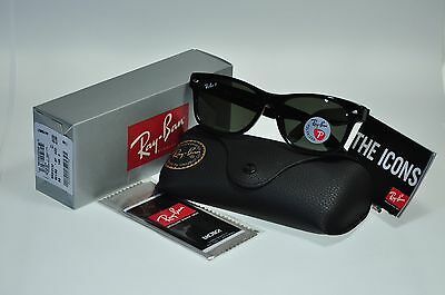 NEW Authentic Ray Ban RB2132 901/58 55mm BLACK NEW WAYFARER POLARIZED Green lens