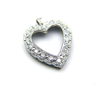 Estate Antique Pave Cluster Diamond 14k Gold Heart Pendant Enhancer For Chain