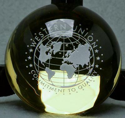 Vintage Western Union Glass Paperweight. Free Sh. In U.s.a.
