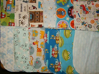 Lot of 12 Homemade Baby Boys  multi-color Burp Pads new