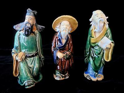 "Vintage China Chinese ~ Lot Of 3 Mud Men - 3"" - 4"" Tall!"