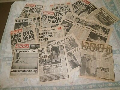 Original front page reports from UK newspapers of the death of ELVIS